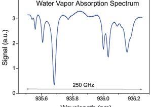 TOPTICA AG - 水蒸气吸收光谱,图示测试结果来源于温度调谐 935nm DFB pro